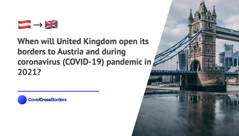 When will United Kingdom open its borders to Austria and  during coronavirus (COVID-19) pandemic in 2021?