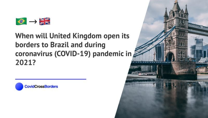 When will United Kingdom open its borders to Brazil and  during coronavirus (COVID-19) pandemic in 2021?