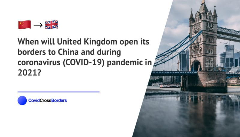 When will United Kingdom open its borders to China and  during coronavirus (COVID-19) pandemic in 2021?