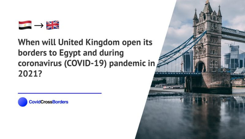When will United Kingdom open its borders to Egypt and  during coronavirus (COVID-19) pandemic in 2021?